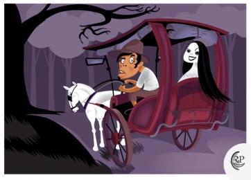 kalesa-white lady cartoon_art by richard peter david